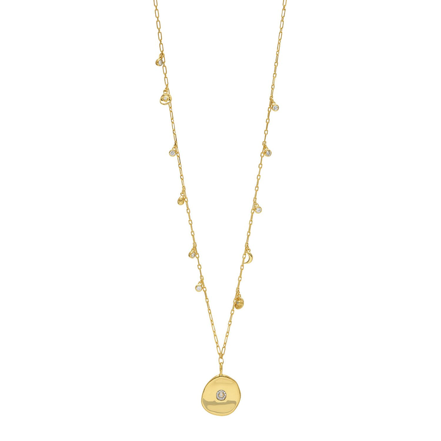 Long Coin Charm  Necklace