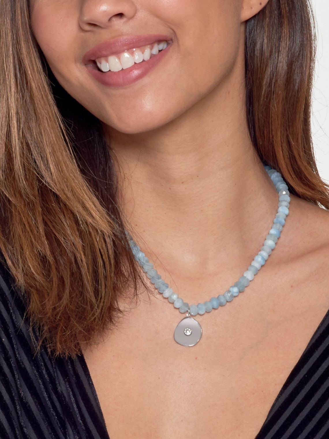 Large Coin Charm Bead Necklace